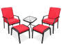 Red Cushion 5 Piece Patio Chat Set Side by Side with Chairs Ottomans and Table Front View Silo Image