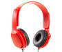 Red Flat Cord Stereo Headphones Silo