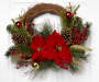 Red Floral Twig Wreath 20 Inches Overhead View Silo Image