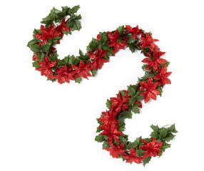 Winter Wonder Lane Red Glitter Poinsettia Chain Garland