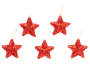 Red Glitter Star Ornaments 5 Pack Out of Package Side by Side Overhead View Silo Image