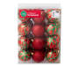 Red Green Gold Shatterproof Ornaments 24-Pack In Package Silo