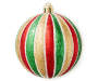 Red Green Gold Thin Stripe Shatterproof Ornaments 25-Pack Out Of Package Silo