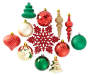 Red Green and Gold Shatterproof Ornaments 40 Pack Variety Showing Out of Package Silo Image