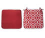 Red Iron Work Outdoor Seat Cushions 2 Pack Both Sides Showing Silo Image
