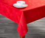 Red Jacquard Christmas Tablecloth 60 Inches by 84 Inches on Table Room View