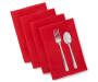 Red Jacquard Fabric Napkins 4 Pack Stacked and Fanned with Silverware Silo