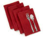 Red Jacquard Napkins 4 Pack Stacked and Fanned with Flatware Silo Image