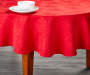 Red Jacquard Round Christmas Tablecloth 60 Inches on Round Table Room View