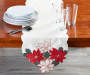Red Joyous Poinsettia Table Runner 70 Inches by 13 Inches on Table