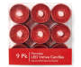 Red LED Votive Candles 9 Pack In Package Overhead View Silo Image