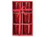 Red Mercury Glass 6-Piece Candle Holder Set Silo In Package