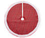 Red Plaid Burlap Tree Skirt 48 Inches Overhead View Silo Image