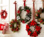"Red Plaid Wreath with Bows & Berries, (24"")"