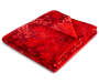 Red Plush Velvet Throw with Light Red Snowflake Pattern Folded Silo Image