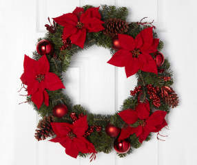 Winter Wonder Lane Red Poinsettia Wreath 22 Quot Big Lots