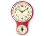 Red Retro Wall Clock with Dial Timer Front View Silo Image