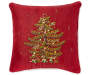 Red Ribbon Tree Throw Pillow 15 IN x 15 IN Silo Image