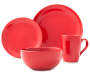 Red Round 16 Piece Dinnerware Set Silo Image