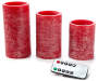 Red Rustic Flameless LED Pillar Candle Set with Remote 3 Pack Front View Silo Image