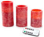 Red Rustic Flameless LED Pillar Candle Set with Remote 3 Pack Lit Front View Silo Image