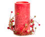 Red Rustic Flameless LED Pillar Candle with Berry Ring Silo