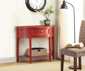 Red Semi Circle Accent Table Big Lots