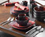 Red Soho Square 16-Piece Dinnerware Set