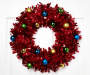 Red Tinsel Wreath 18 Inches on White Door