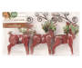 Red Wooden Deer Ornaments 3-Pack Silo In Package