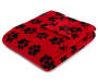 Red and Black Puppy Paw Soft Throw Folded with Corner Down Silo Image