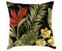 Red and Black Tropical Plant Toss Pillow 16in x 16in silo front