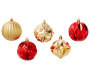 Red and Gold Shape Shatterproof Ornaments 50-Pack 5 Ornaments Out of Package Silo