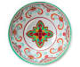 Red and Green Medallion Melamine Serving Bowl silo top view