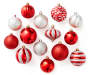 Red and Silver Shatterproof Ornament Set 60-Pack Out Of Package Silo