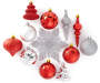 Red and Silver Shatterproof Ornaments 40 Count Out of Pacakge Silo Image
