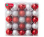 Red and Silver Shatterproof Ornaments 50-Pack In Package Silo