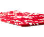 Red and White Chenille Metallic Snowflake Indoor Rug Silo Diagonal Thickness Angle