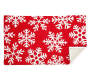 Red and White Chenille Metallic Snowflake Indoor Rug Silo Image Folded Corner