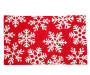 Red and White Chenille Metallic Snowflake Indoor Rug Silo Image