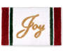 Red and White Evergreen Joy Shower Rug with Text Silo Image
