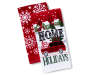 Red and White Snowflake Holiday Christmas Kitchen Towels 2 Pack Stacked and Fanned Silo Image