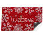 Red and White Welcome Snowflakes Outdoor Coir Mat 18 Inches by 30 Inches Corner Folded Overhead View Silo Image
