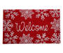Red and White Welcome Snowflakes Outdoor Coir Mat 18 Inches by 30 Inches Overhead View Silo Image