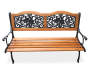 Rose Motif Slat Wood Garden Bench silo top view