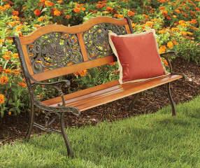 Wilson Amp Fisher Rose Design Wood Slat Park Bench Big Lots