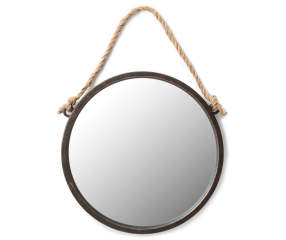 black round mirror with rope big lots. Black Bedroom Furniture Sets. Home Design Ideas