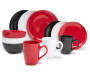 Round Red 16-Piece Dinnerware Set