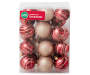 Rustic Red Gold Shatterproof Ornaments 24-Pack In Package Silo