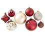 Rustic Red and Gold Shatterproof Ornaments 50 Count Variety Showing Out of Package Silo Image